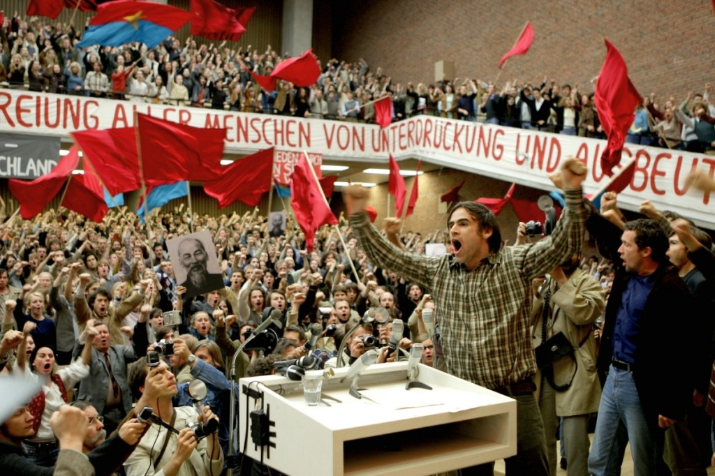 Film still, reenactment of International Vietnam Kongress, The Baader-Meinhof Complex