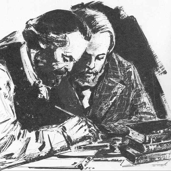 Marx and Engels at work together