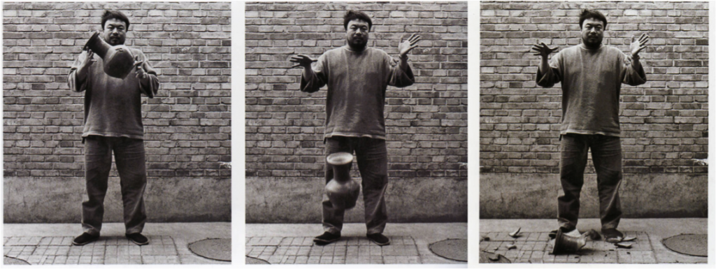 Ai Weiwei, photo documentation of the performance Dropping a Han Dynasty Urn (1995), Triptych: black and white photograph.