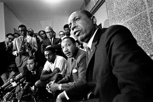 Floyd McKissick of the Congress of Racial Equality, the Dr. Martin Luther King Jr., and Stokely Carmichael, leader of the Student Nonviolent Coordinating Committee, in 1966.