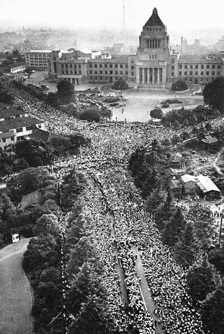 Protestors surround the Diet in Tokyo on June 18th, 1960, to oppose the ANPO Security Treaty between the United States and Japan, which was passed the following day.
