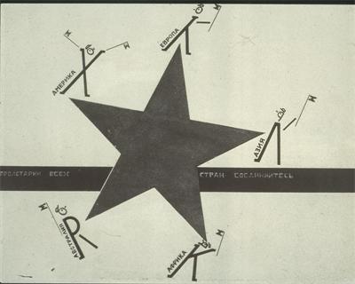 """El Lissitzky's Workers of the World Unite design for """"Die Vier Grundrich numgrarten"""" 1928."""