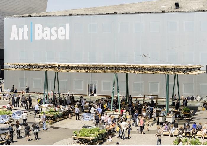 Feeding the Art Basel crowds in 2015. Rirkrit Tiravanija, Nikolaus Hirsch/Michel Mueller, and Antto Melasnie's public artwork DO WE DREAM UNDER THE SAME SKY, 2015.