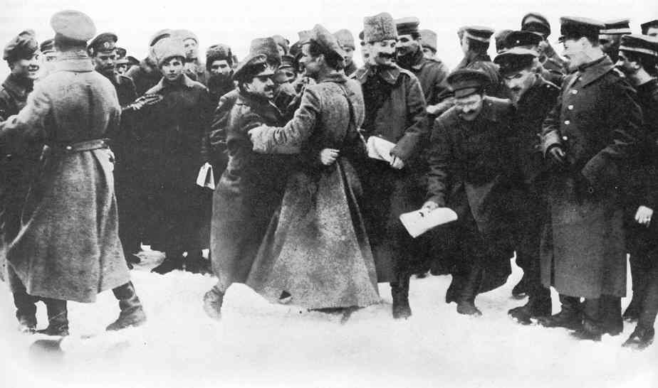 German and Russian soldiers dance in celebration of the December 1917 Armistice that led to the signing of the Brest-Litovsk Treaty the following year