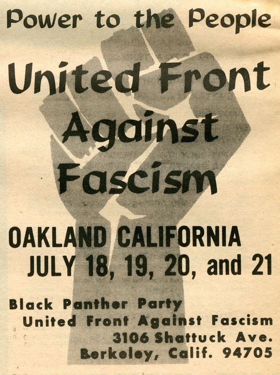 Poster for the United Front Against Fascism conference, sponsored by the Black Panther Party held in Berkeley in 1969.