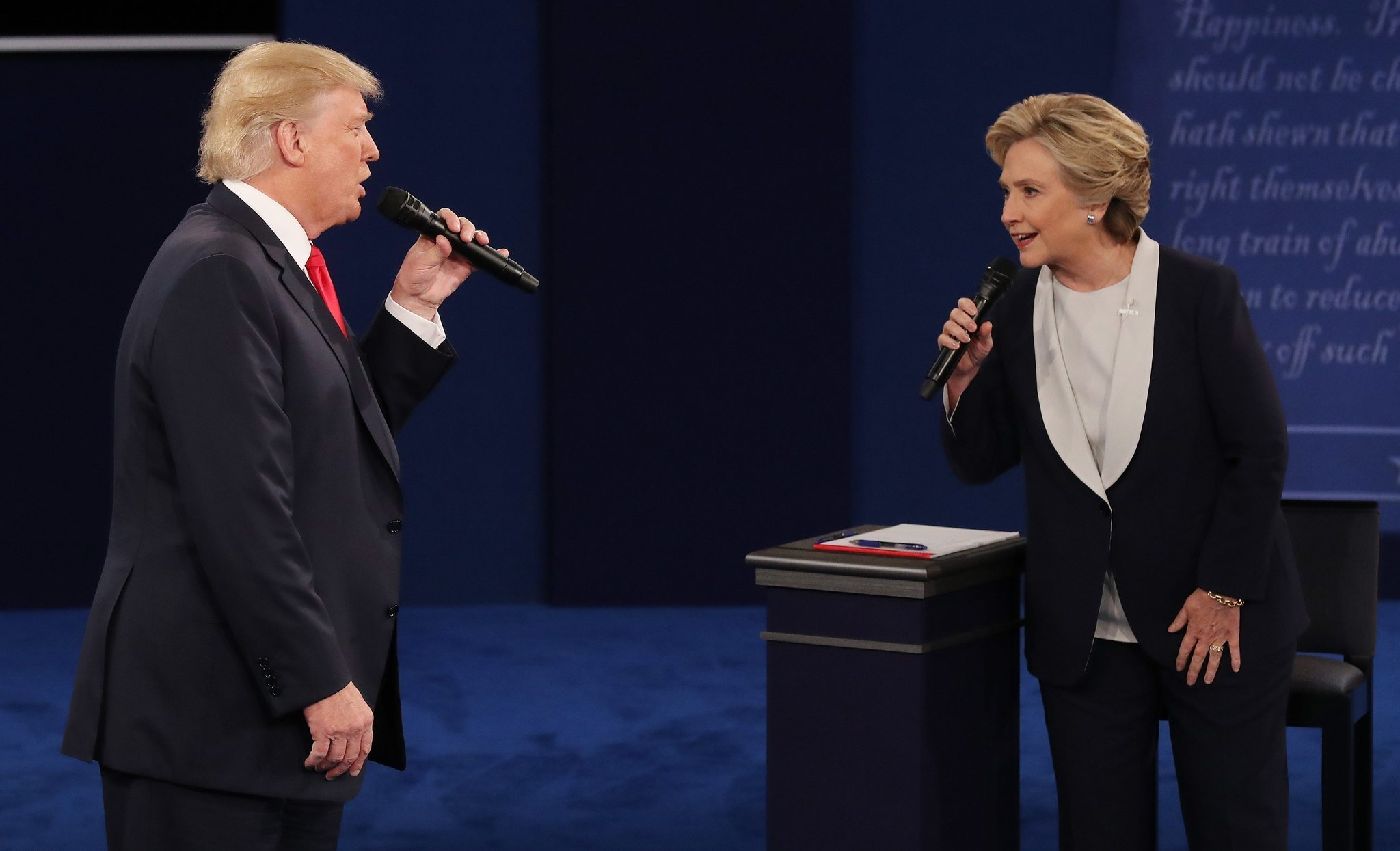 Donald Trump and Hillary Clinton taking part in the second debate at Washington University in St. Louis on Oct. 9, 2016.
