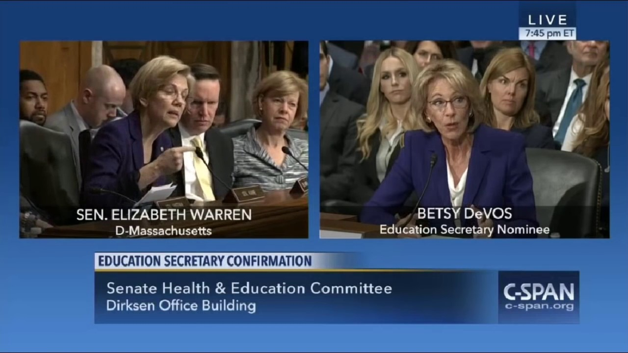 Betsy DeVos faces off against Democrats in Hearing for Secretary of Education. DeVos argued for less government control in education.
