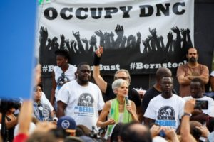 "On July 27, 2016 during the 2016 Democratic National Convention in Philadelphia, presumptive Green Party presidential nominee Jill Stein speaks with ""Black Men for Bernie,"" supporters of former Democratic presidential candidate Bernie Sanders. (Photo: Getty)"